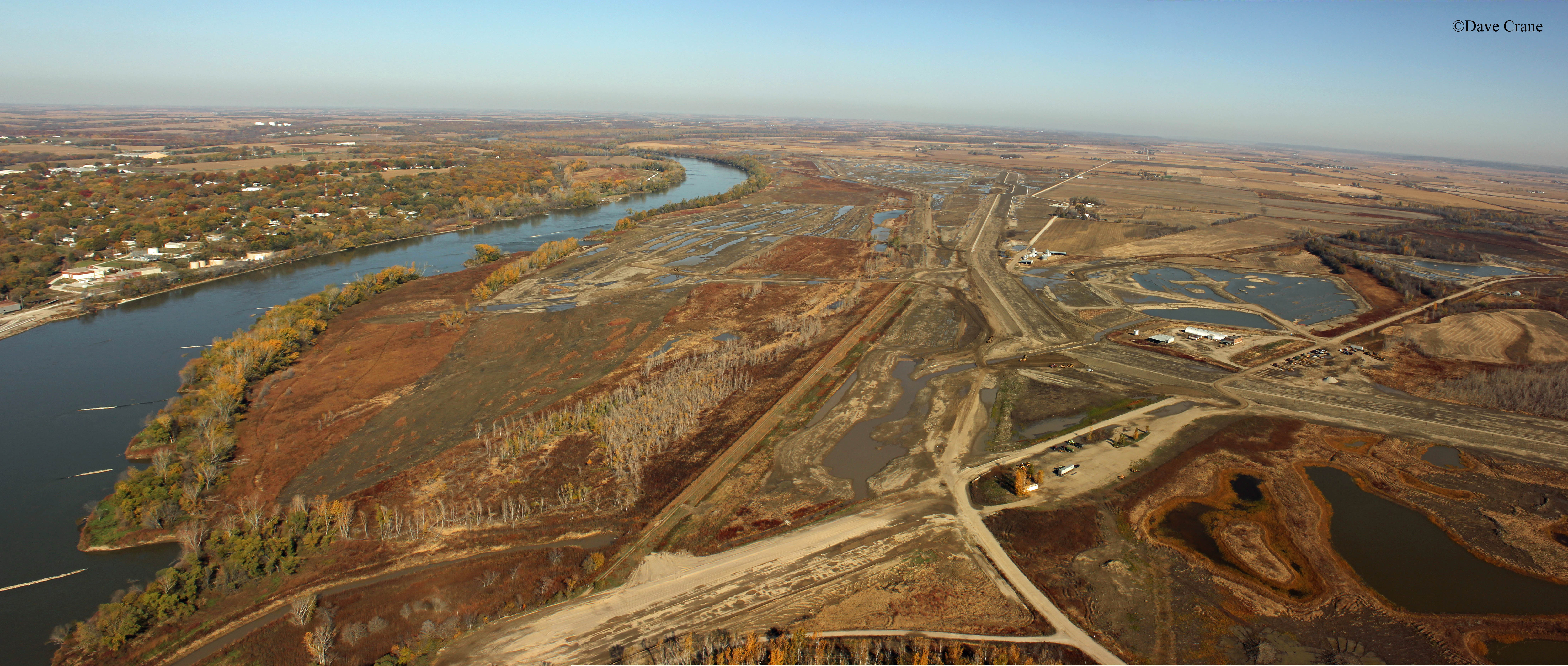 An aerial panoramic photo of Missouri River Levee L-575 Setback project, 2012.