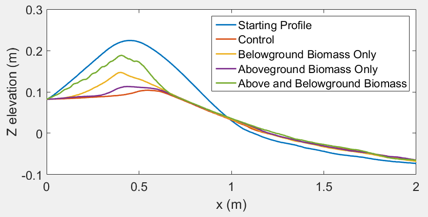 Figure of starting and final dune profile