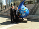 Photo of IWR Director Bob Pietrowsky (right) at the World Water Forum with Hans Van der Werf (left) of the Central Commission for Navigation on the Rhine.