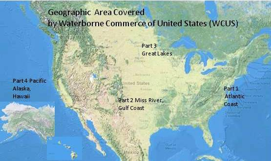 Map of showing geographic area covered by Waterborne Commerce of US